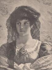BEAUTIFUL SPANISH LADY EARLY SPAIN ANTIQUE ART PRINT 1887