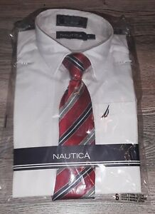 Nautica White Dress Shirt  Boys Size 6 Long Sleeve & Red Stripe Tie Set New NWT