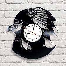 Eagle Falcon design vinyl record wall clock, home art office shop pub