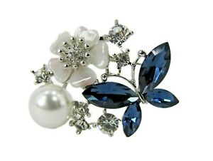 Blue Crystal Butterfly Flower Pin Brooch with Pearl and Crystal - NEW