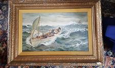 Superbo olio in ritardo 19thc SEA SCAPE uomini in barca a vela-SOTTO VETRO & incorniciato-firmato
