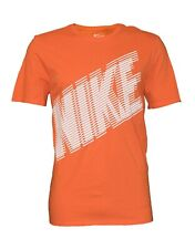 Nike Men's White Speed Lines Athletic Sportswear Athletic Gym Orange T-Shirt