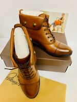 PATRICIA NASH Womens LIA Ankle Booties Leather Combat Boots Cap Toe WHISKEY-Z2