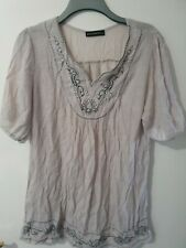 Just Elegance Grey Short Sleeve Tunic with Bead Detail Size M/L