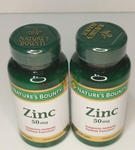 Nature's Bounty Zinc 50 mg Caplets 100 Each (Pack of 2) Exp. 10/24 or Later New