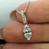 Solitaire Pendant Necklace 1.00Ct Marquise Cut Diamond 14k White Gold Finish