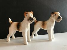 Two Vintage Nippon Wire Fox Terrier Figurines 4x4