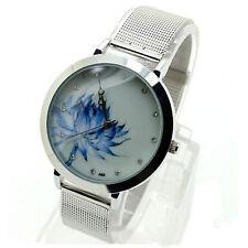 Women Blue Lotus Stainless Steel Bnad Mesh Analog Quartz Wrist Watches Trusty US