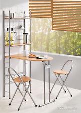 Küchentisch mit Regal und 2 Stühlen, klappbar, Bar Holz