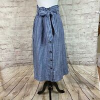 Christian Siriano Women's High Waist Linen Blue Button Front Skirt Sz M Striped