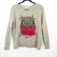 Abercrombie & Fitch Oversized Wool Blend Tan Sequined Raccoon Sweater Sz XS
