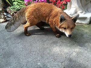 Fox , Outdoor Prowling Fox , fox sculpture Life like fox Resin garden ornament