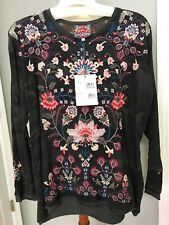 NWT JOHNNY WAS Nindi EMBROIDERED Camo Green Thermal Shirt Blouse Sz L