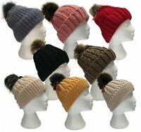 Girls Ladies Winter Cap Beanie Fleece Lined Hat Warm Knitted Faux Fur Pompom