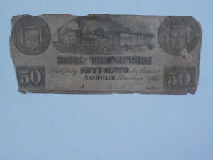 Civil War Confederate 1861 50 Cents Note Bank Of Tennessee Nashville Paper Money