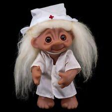 "Vintage Nurse Kristin DAM Norfin Troll Doll 9"" White Wool Hair 6057"