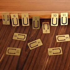 12Pcs Practical Brass Bookmark Number Bookmark Metal Index Clamp Line Marker LD