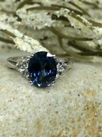 3ct Oval Cut Blue Sapphire Fancy Solitaire Engagement Ring 14k White Gold Finish