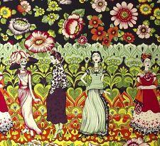 REMNANT~Alexander Henry~FRIDA LA CATRINA ~Kahlo~Folklorico~Fabric B~110 x 46cm