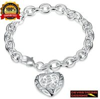 "Mothers Day 925 Sterling Silver Womens Heart Link 8"" Bracelet + GiftPk D473D"