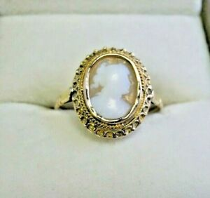 Vintage 14 Carat Gold Cameo Ring Size O