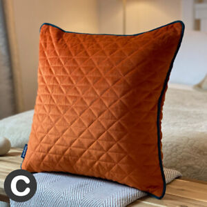 Luxury Rust Burnt Orange Velvet Diamond Quilted Geometric Cushion Piped 45cm