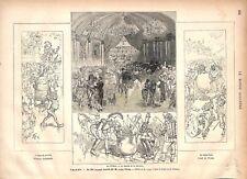 Obus de la Lune Polichinelle Amiens Bal Travesti par Jules Verne  GRAVURE 1877