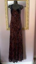 Vintage Nougat London Maxidress Sz3~12-14 velvet devoré silk lined romantic ❣vgc