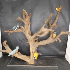 "Antique Folk Art Hand Carved Eastern Birds on Large Drift Wood Piece 18"" Tall"