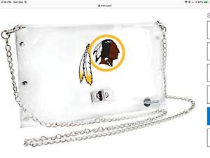 WASHINGTON REDSKINS NFL Stadium Approved CLEAR PVC Envelope Purse NEW
