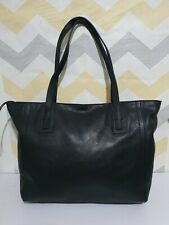 Fossil large black leather shoulder shopper tote bag