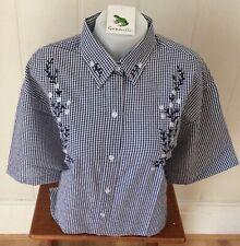 Ladies Grenouille Seersucker Cotton Short Sleeve Shirt Large - Navy/flowers