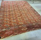 """1880s TURKOMAN TEKKE MAIN CARPET HAND KNOTTED WOOL RUG SOME RESTORATION """"AS IS"""""""