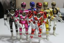 "Mighty Morphin Power Rangers Metallic 9"" complete set of 6 w/weapons VHTF"