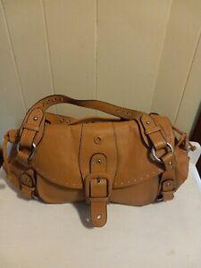 Hype Caramel  Leather Large Satchel Handbag Shoulder Bag Purse Hobo Shopper NWOT