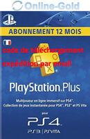 PlayStation Plus Abonnement 12 Mois - 365 Jours 1 année Code PSN PS4 PS3 [FR]