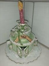 Blue Sky Clayworks May Emerald Green Porcelain Birthday Cake 2002 Tealight 3pc