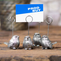4 x Vintage Silver Bird Name Card Number Photo Holders Wedding Table Decoration