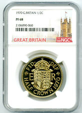 1970 GREAT BRITAIN 1/2 CROWN NGC PF68 PROOF COIN - LAST YEAR OF ISSUE