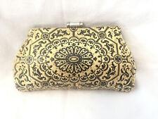 Antique Art Deco Black & Cream White Clutch Handbag Chrome frame & clasp