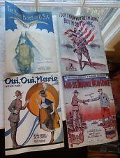 WWI Sheet Music (4) KHAKI BOYS OF USA,Goodbye Broadway Hello France,etc 1917-18