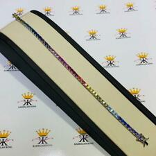 "Platinum Sterling Silver Round Cut Rainbow Color Sapphire Tennis Bracelet 7"""