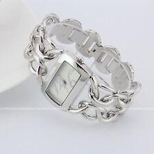 Aoyi Ladies Women Luxury Silver Plated Square Net Bracelet Wrist Quartz Watch