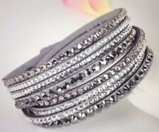 New Leather Multilayer Wrap Bracelet 4 row Crystal look Women's Gray