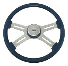 "4 Spoke 18"" Blue Classic Steering Wheel w/ Matching Bezel for FL KW PB & More!"
