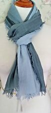 NWT! MINT! EILEEN FISHER Wool/Silk/Cashmere Ombre Wrap Scarf -Morning-glory Blue
