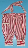Red White Strip Fabric Half Apron Bloomers Holiday Vintage w Lace Trim & Ribbons