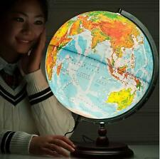 Rotating LED Antique Style World Globe Map Table Lamp light Wood Base Dia 32cm S