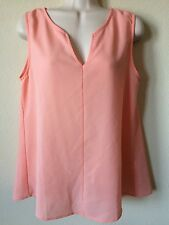 zouk Peach V Cut Neckline Lace Back Vented Sleeveless Blouse Top, Size M