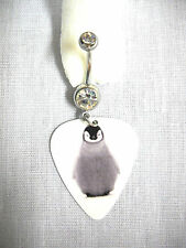 CUTE FLUFFY BABY PENGUIN PRINTED GUITAR PICK w DAZZLING CLEAR CZ 14g BELLY RING